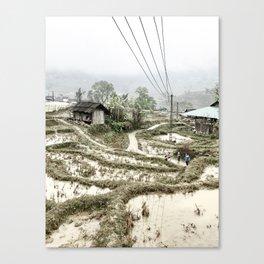Beautiful foggy SaPa Vietnam rice fields cold winter Canvas Print