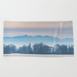 Spanish Peaks Fog Beach Towel