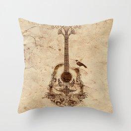 The Guitar's Song Throw Pillow