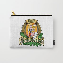 Oktoberfest German Prost Sexy Pin Up Girl Beer Label Carry-All Pouch