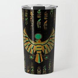 Egyptian Horus Falcon gold and color crystal Travel Mug