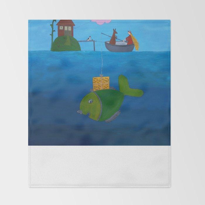 Ozzi and Lulu Fishing Throw Blanket