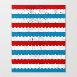 The Sailor - Vintage Nautical Striped Waves RWB Canvas Print