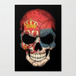 Dark Skull with Flag of Serbia Canvas Print