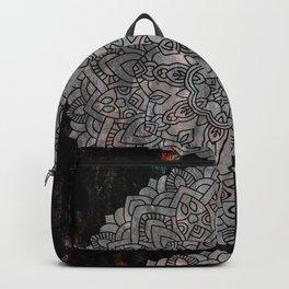 Mandala design on black marble Backpack