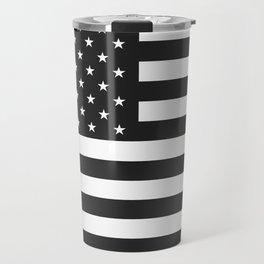 American Flag Stars and Stripes Black White Travel Mug