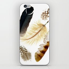 Brown feathers art, Five Feathers design, Tribal Boho style iPhone Skin