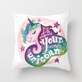 Embrace Your Inner Unicorn Throw Pillow