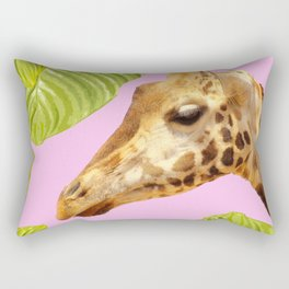 Giraffe with green leaves on a pink background Rectangular Pillow
