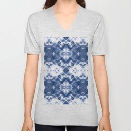 Shibori Tie Dye Indigo Blue Unisex V-Neck