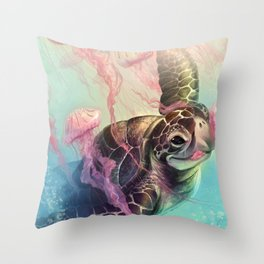 Sea Turtle and Jellyfish! Throw Pillow