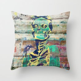 Life and Dead (Sugar Skull Girl) Throw Pillow