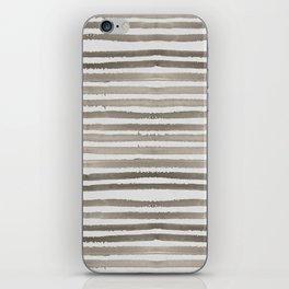 Simply Shibori Stripes Earth Brown on Lunar Gray iPhone Skin