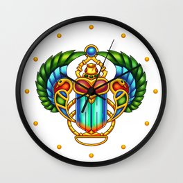 Colorful Egyptian Scarab - Digital Painting Wall Clock