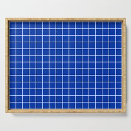 UA blue - blue color - White Lines Grid Pattern Serving Tray
