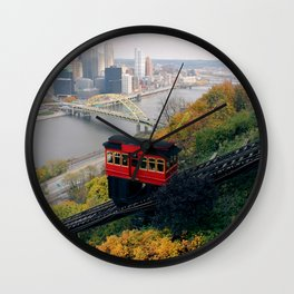 An Autumn Day on the Duquesne Incline in Pittsburgh, Pennsylvania Wall Clock