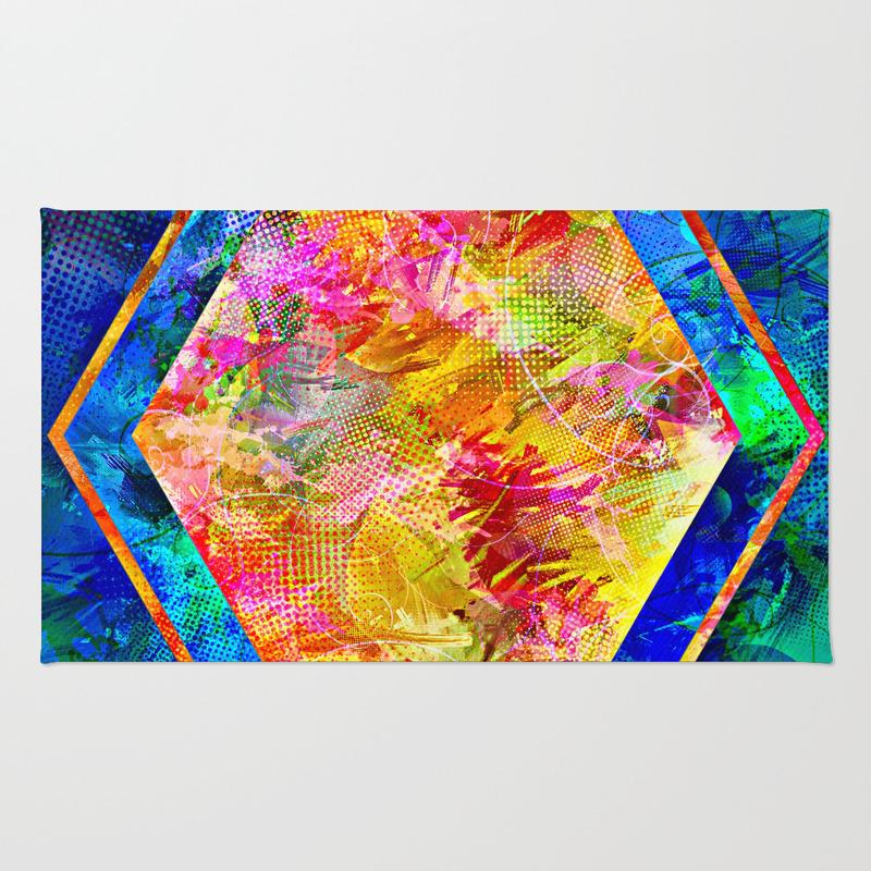 Hexagon In Complementary Colors Rug by Danaroper RUG9003343