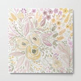 Watercolor . Flower meadow . 1 Metal Print