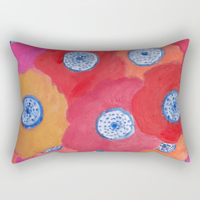 Hippy flowers watercolor Rectangular Pillow