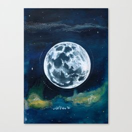 Full Moon Mixed Media Painting Canvas Print