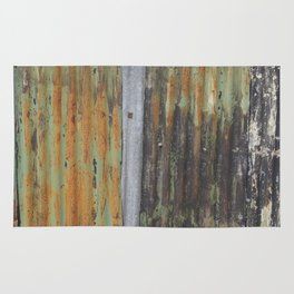 corrugated rusty metal fence paint texture Rug