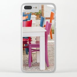 Colorful chairs and white tables Clear iPhone Case
