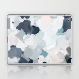 Navy Indigo Blue Blush Pink Gray Mint Abstract Air Clouds Art Sky Painting Laptop & iPad Skin