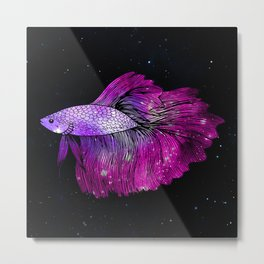 Pink Galaxy Betta Fish Metal Print