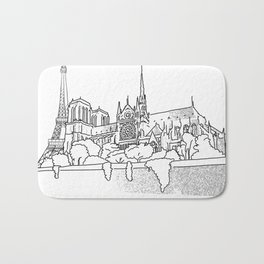 Notre Dame and Eiffel Tower travel scene Bath Mat