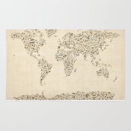 Music Notes Map of the World Rug