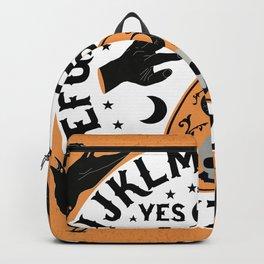 Orange And Black Modern Ouija Board With Ravens Backpack