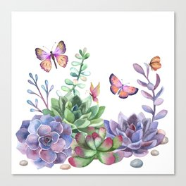 A Splendid Secret Succulent Garden With Butterfly Visitors Canvas Print