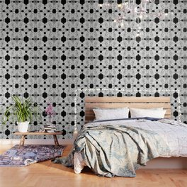 Gardenia Black and White Wallpaper