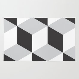 Cubism Black and White Rug
