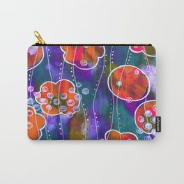 Flower Circles Red Pattern Carry-All Pouch
