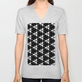 Minimalist Black and White Flower Pattern Unisex V-Neck