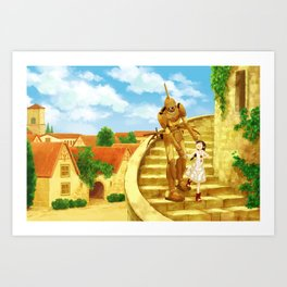 The Girl and the Robot - Friends in the Castletown Art Print