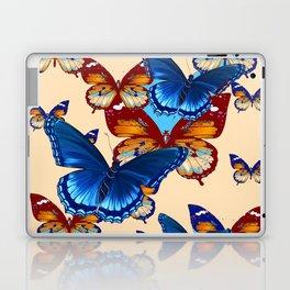 #2 MODERN ART DECORATIVE BLUE-BROWN  BUTTERFLIES Laptop & iPad Skin