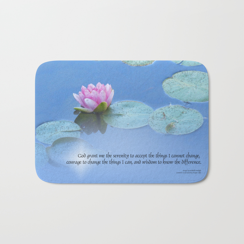Memory Foam Water Lily.Serenity Prayer Pink Water Lily Bath Mat