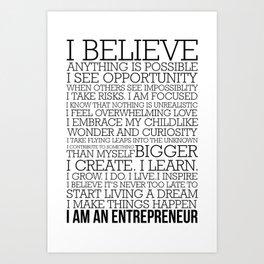 Entrepreneur Manifesto Art Print