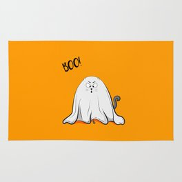 Ghost cat BOO! Rug