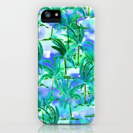 Palm Tree Blue Green iPhone Case