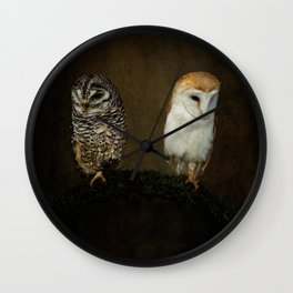 Barn And Tawny Owl Wall Clock