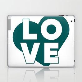 LOVE & heart // dark teal Laptop & iPad Skin