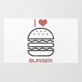 I Love Burger - BBQ Barbecue Grill Design Rug