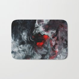 Red and Black Minimalist Abstract Painting Bath Mat