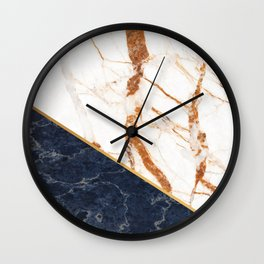 Classy Elegant White Blue Gold Marble Wall Clock