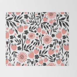 Floral Pattern Dark Gray and Light Coral Throw Blanket