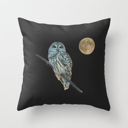 Owl, See the Moon (sq) Throw Pillow