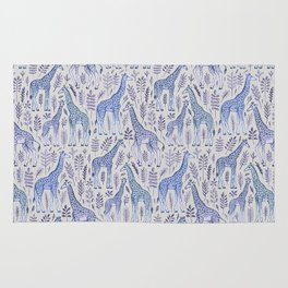 Blue Giraffe Pattern Rug